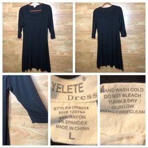 YELETE LARGE BLACK SWING DRESS with 3/4 SLEEVES